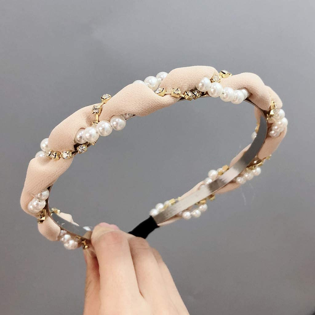 Iusun Wide Diamond Pearl Headband Wrap Wide-Brimmed Hairband Wash Face Hoop Simple Sweet Girls Hairpin Accessory Hair Care Jewelry Decoration