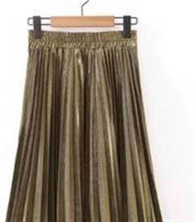 Haucalarm Falda larga plisada de color sólido para mujer Dorado ...