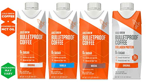 Bulletproof Cold Brew Coffee, Keto Friendly, Sugar Free, with Brain Octane oil and Grass-fed Butter, One of each Mocha, Vanilla, Original, and Coffee+Collagen (Variety 4-Pack)