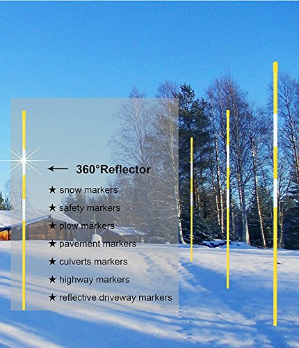FiberMarker Snow Markers 48-Inch Reflective Snow Poles 5/16 Inch Diameter Yellow, 20 Pack by FiberMarker