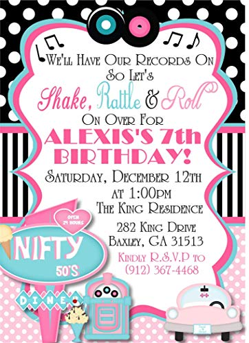 50s Party Invitations (1950's Sock Hop Birthday Party)