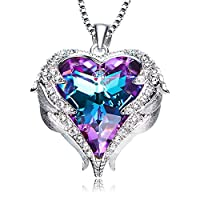 NEWNOVE Heart Ocean Pendant Necklaces Women Made Swarovski Crystals