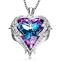 ANCREU Angel Wing Heart Pendant Necklace for Women Made with Swarovski Crystals