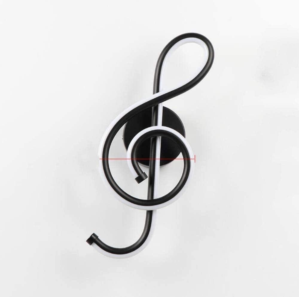 AC90-260 V a forma di chiave di violino colore nero per camera da letto Lampada da parete a LED 22 W