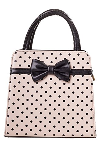 Banned Carla Retro Bag 50s Rockabilly Polka Faux Leather Top Handle Handbag - (Polka Dot Purse Handbag)