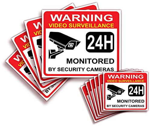 "Video Surveillance Warning Sign Sticker - Decal, 10x Pack, (4)7""x6"" in, (6)3.5""x3"" in, CCTV Security Premium Self-Adhesive Vinyl, Laminated for Ultimate UV Protection, Bubble Free Application."
