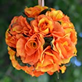Efavormart 4 PCS Rose Pomander Silk Flower Balls for DIY Wedding Bouquets Centerpieces Arrangements Decorations Supplies - Orange