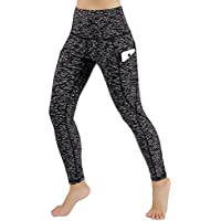 ododos Cintura Alta fuera bolsillo Yoga Capris Pantalones Tummy Control Workout Running 4 Way Stretch Yoga Capris Leggings