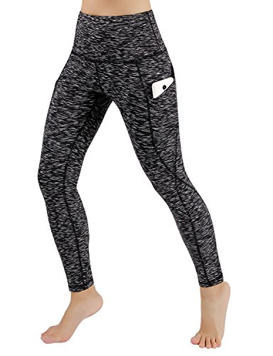 ODODOS High Waist Out Pocket Yoga Pants Tummy Control Workout Running 4 Way Stretch Yoga Leggings,SpaceDyeMattBlack,XX-Large