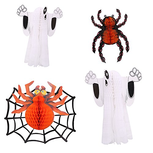 Conjugal Bliss 1PC Paper Lanterns Halloween Party Decoration Tissue Paper Honeycomb Spooky Night Spider Ghost Paper Lantern for Home Festival Bar Entertainment Place Decor (2 GHOST / 2 (Printable Halloween Story Paper)