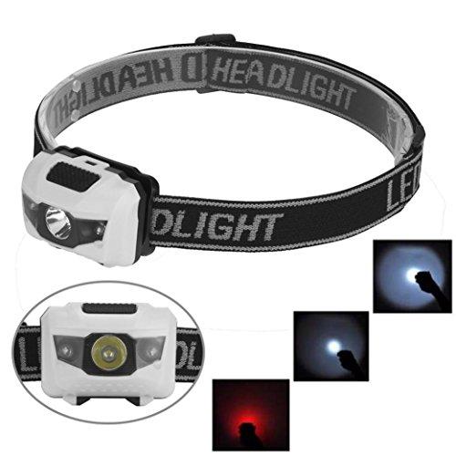 R3 2LED Mini Headlight Headlamp Flashlight 4 Mode Super Bright Torch Light ,Tuscom (White)