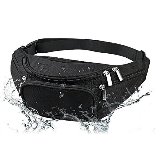 Men's Waterproof Black Fanny Pack Adjustable Buckle Hip Waist Pack 6 Zippers 5 Pockets Bum Waist Pouch For Running Hiking Cycling Outdoor Sports by LOKEP