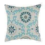 CaliTime Throw Pillow Cover Three-tone Dahlia Floral Compass Geometric 18 X 18 Inches