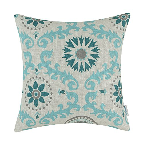CaliTime Canvas Throw Pillow Cover Case for Couch Sofa Home Decoration Three-Tone Dahlia Floral Compass Geometric 18 X 18 inches Teal/Duck Egg/Gray