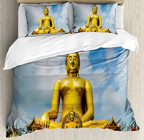Asian Decor King Size Duvet Cover Set by Ambesonne, The Biggest Golden Religious Statue at the Temple in Thai Sage Home Decor, Decorative 3 Piece Bedding Set with 2 Pillow Shams, Multi by Ambesonne