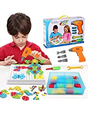 FineSource Building Block Games Set With Toy Drill & ScrewDriver Tool set Educational building blocks construction games Develop Fine Motor Skills - Best Kids Toys for boys & girls age 3 - 14 year old