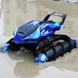 Fun Little Toys RC Remote Control Amphibian Vehicle, Land & Water Tank Car With Durable Motor, Military Used Solider Twister Boat - Disruptive Pattern ... (Blue)