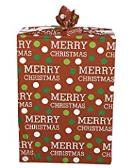 Wrap your super-sized Christmas gift in a fun and easy way! This bright and colorful plastic super jumbo gift bag features a simple dot and lettering design anyone will love, plus a coordinating gift tag and a convenient cord tie closure. The...