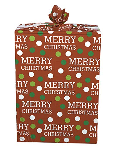 American Greetings Christmas Merry Christmas Dots Jumbo Plastic Gift Bag