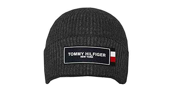 ef88479c Tommy Hilfiger Unisex Adult Tommy Patch Beanie Hat, Charcoal One Size  Charcoal at Amazon Men's Clothing store: