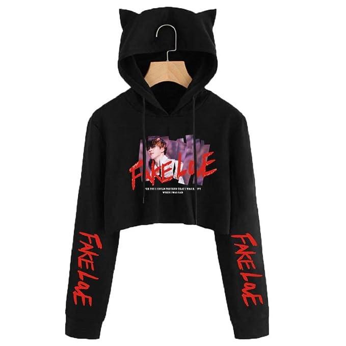 3b1465f2fd3 Amazon.com  FridayLead BTS Fake Love Hoodie Kpop Long Sleeve Cropped  Hoodies Sweatshirt Women Cat Hooded Pullover Crop Tops Clothes  Clothing