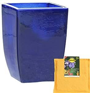 Bajo Juego: Macetero inclusive FlowerPad profesional drenaje Macetero rectangular a las heladas tamaño L 28x B 28x h 39cm, efecto de color azul, forma 227.039.64Macetero cuadrado Calidad de hentschke cerámica