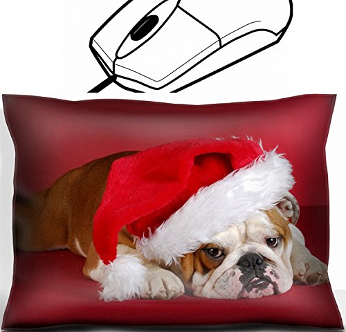 Santa Pillow Bulldogs (MSD Mouse Wrist Rest Office Decor Wrist Supporter Pillow design: 8228208 english bulldog wearing santa hat on red background)