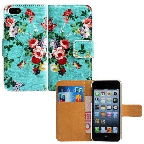 Apple iPhone 4 4S Kunst-Leder ROSEN TÜRKIS Design Flip Schutz-Hülle Case Flip Etui Tasche Cover thematys®