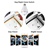 YELIN Security Camera WIFI HD Wireless Panoramic IP Camera Bulb Camera with LED Light Night Vision Motion Detection Support SD Card for Home/Office Monitor