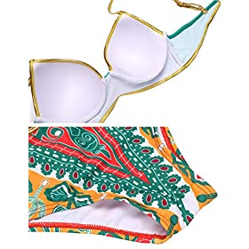 - 51v9ZKTbYJL - L'amore Womens 2 Piece Swimsuit African Print Cut Out Monokini Low Waisted Bikini Set