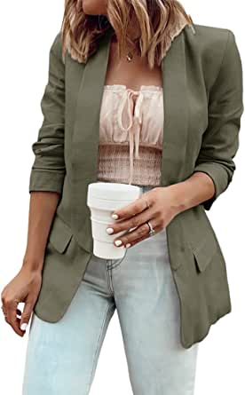 MaQiYa Womens Blazer Casual Jacket Long Sleeve Open Front Work Office Elegant Lightweight Jacket Cardigans