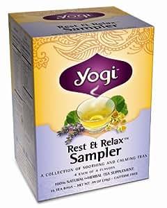 Yogi Rest & Relax Sampler, Herbal Tea Supplement Variety Pack, 16 Count Tea Bag