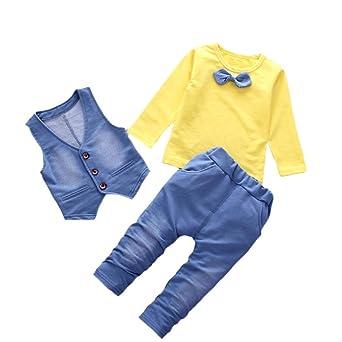 Conjuntos de Bebé Niños, ❤ Modaworld Camiseta de Manga Larga para niños bebé con Estilo Denim + Pantalones + Chaleco Conjunto de Ropa de Caballero de ...