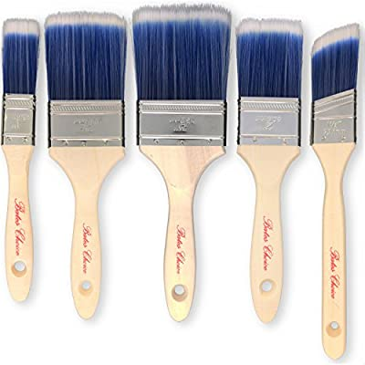 Bates Paint Brushes - 5 Pieces (3, 2.5, 2, 1.5 and 1-Inch), Paint Brushes For Walls, Professional Wall Brush Set, Trim Paint Brush, Angle Sash Paint Brush, Premium Paintbrush, Home Paint Brushes