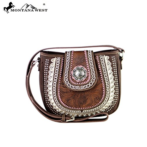 MW357-8360 Montana West Concho Collection Saddle Bag-Brown - Concho Collection