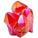 red quartz - rockcloud Healing Crystal Natural Titanium Coated Deep Red Rock Quartz Cluster Geode Druzy Home Decoration Gemstone Specimen