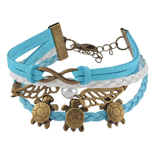 Loweryeah 1Pc New Angel Wing Turtles Infinity Friendship Pu Leather Charm Bracelet (Main Wing Part)
