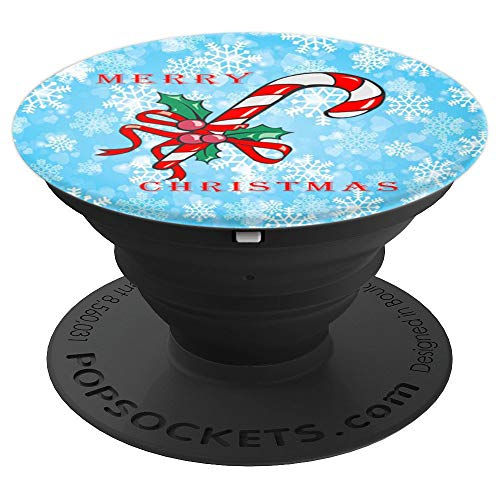 Merry Christmas Candy Cane Funny Xmas Holiday Snowflakes - PopSockets Grip and Stand for Phones and -