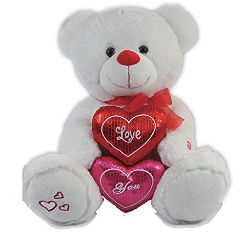 Calplush Romance 14 White Bear 2 Hearts Plush Animal Toy NIXEU V9780//M-14