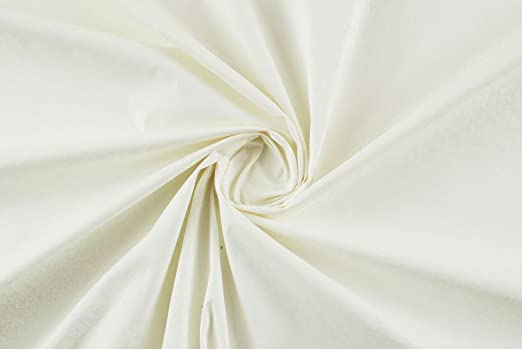 Tela al metro color satén de algodón blanco a flores blancas Stretch ...