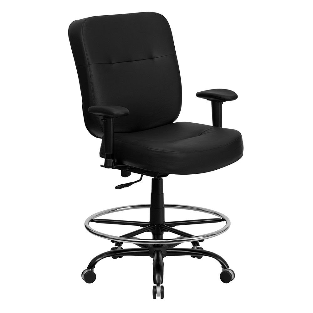 Hercules Bonded Leather Big & Tall Task Stool Dimensions: 29.25''W x 30.50''D x 45-51''H Seat Dimensions: 21.50''Wx22.75''Dx24-29''H Black Bonded Leather/Chrome Foot Ring/Black Metal Base