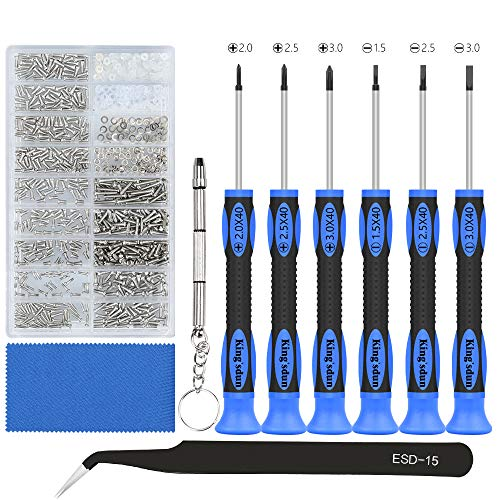 Eyeglass Repair Tool Kit, Kingsdun Glasses Precision Screwdriver Set with Eyeglass Screws Kit and Curved Tweezer in Assorted Size for Eyeglass, Sunglass, Spectacles & Watch ()