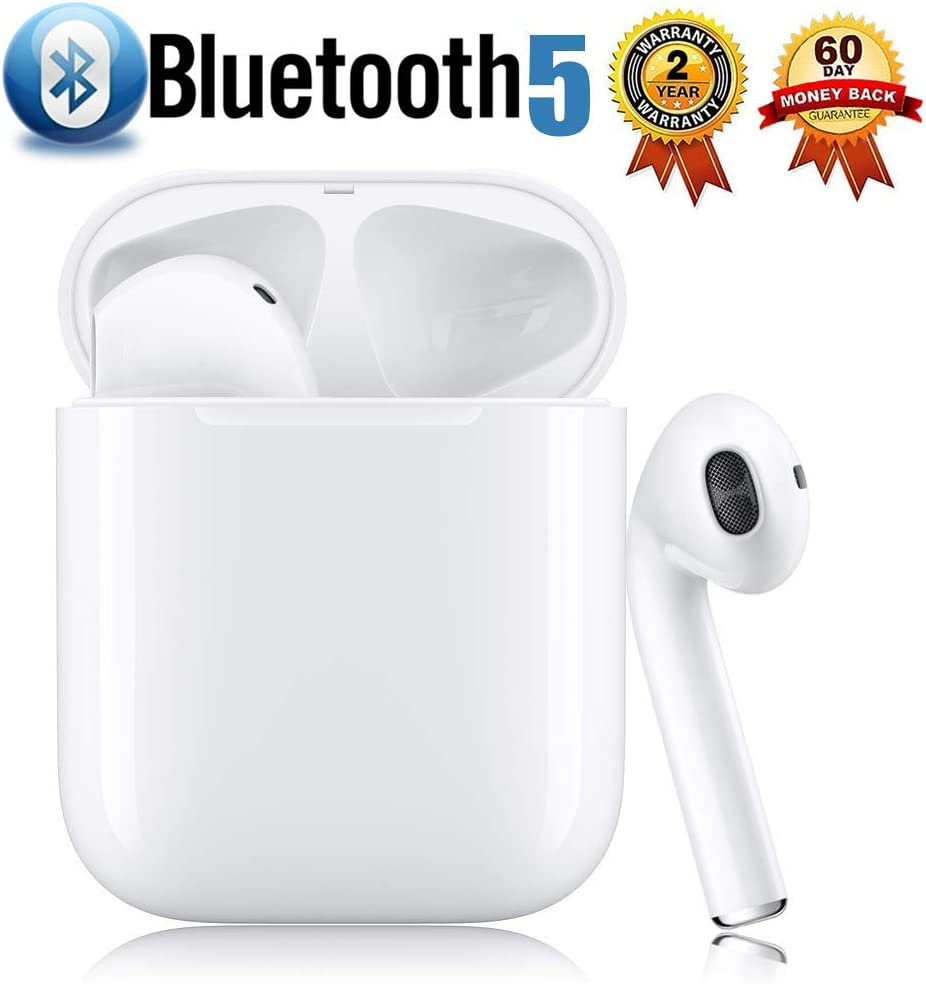 True Wireless Stereo Earbuds Bluetooth Headset in-Ear Earbuds Sports Headset,2019 Latest Intelligent Noise Reduction Pop-ups Auto Pairing with Charging Case Compatible for iPhone Samsung Apple Airpods