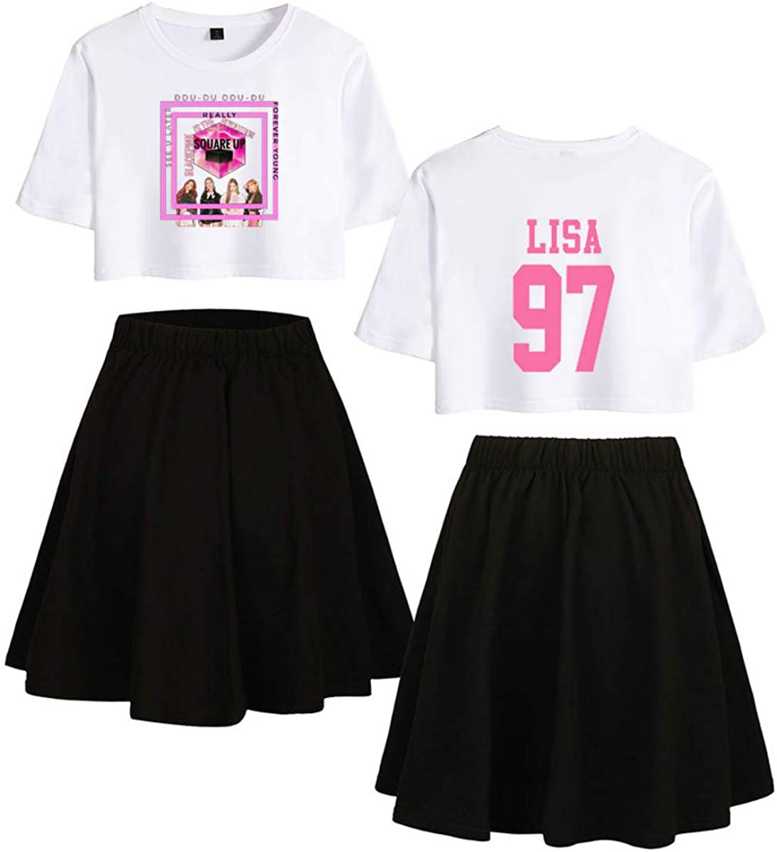 KPOP Blackpink Lisa Conjunto de Dos Piezas Casual Tops + Falda ...