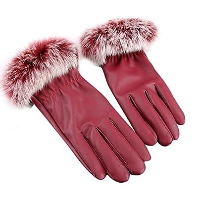 CMrtew Women Leather Gloves Winter Warm Faux Rabbit Fur Mittens