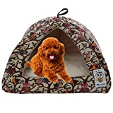 Nunubee Owl Canvas Triangle Dog Kennel Pet Nest Cat Pad Bed Yellow Small (Owl, S)