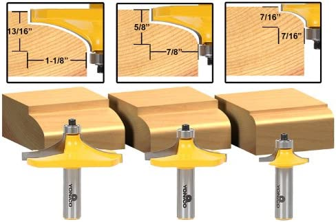 Yonico 13340 3 bit borde de la mesa miniatura Router Bit Set con 1 ...