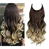 SARLA Ombre Halo Hair Extensions Invisible Wire Adjustable Headband Wavy Curly Synthetic Hair Piece Long 18 Inch 4.2 Oz Dark Brown to Ash Blonde for Women No Clip