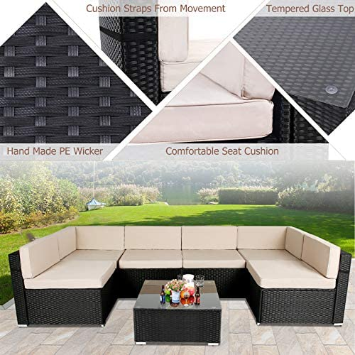 51v9b3lgloL. AC AECOJOY 7 Piece Patio PE Rattan Wicker Sofa Set, Outdoor Sectional Conversation Furniture Chair Set with Cushions and Table, Black    Product Description
