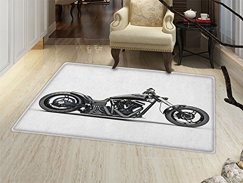 (smallbeefly Manly Bath Mat for tub Custom Motorcycle Horsepower Adventurous Journey Freedom Ride Masculine Vehicle Door Mats for inside Bathroom Mat Non Slip Backing Grey Black)